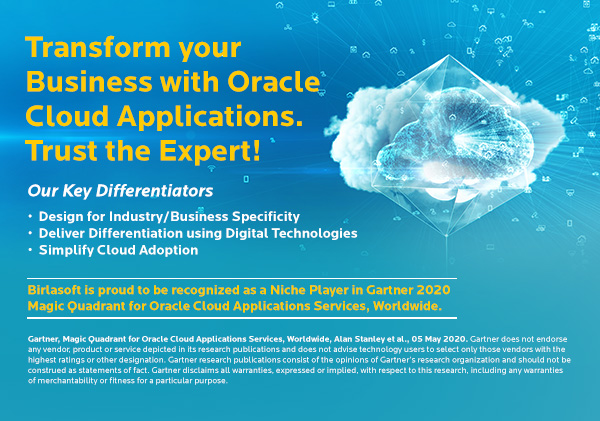Birlasoft recognized as a Niche Player in Gartner 2020 Magic Quadrant for Oracle Cloud Applications Services, Worldwide