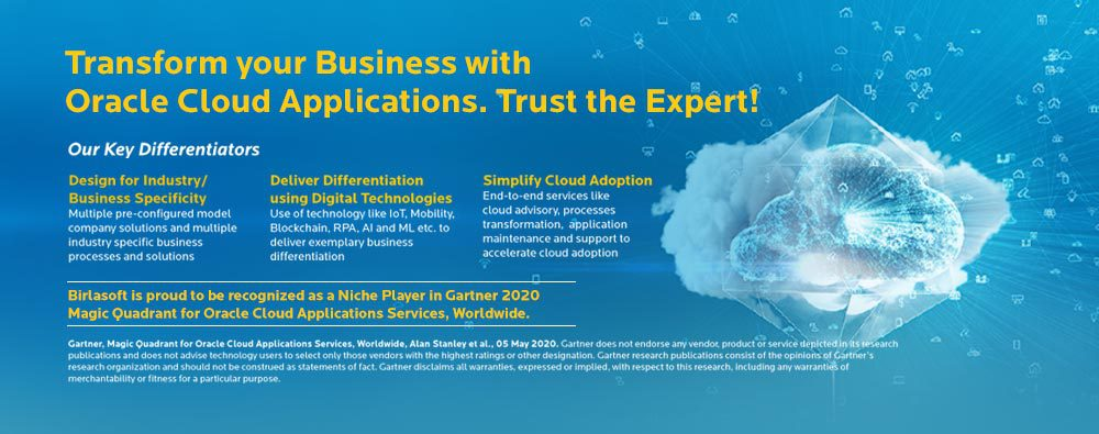 Birlasoft recognized as a 'Niche Player' in Gartner 2020 Magic Quadrant for Oracle Cloud Applications Services, Worldwide